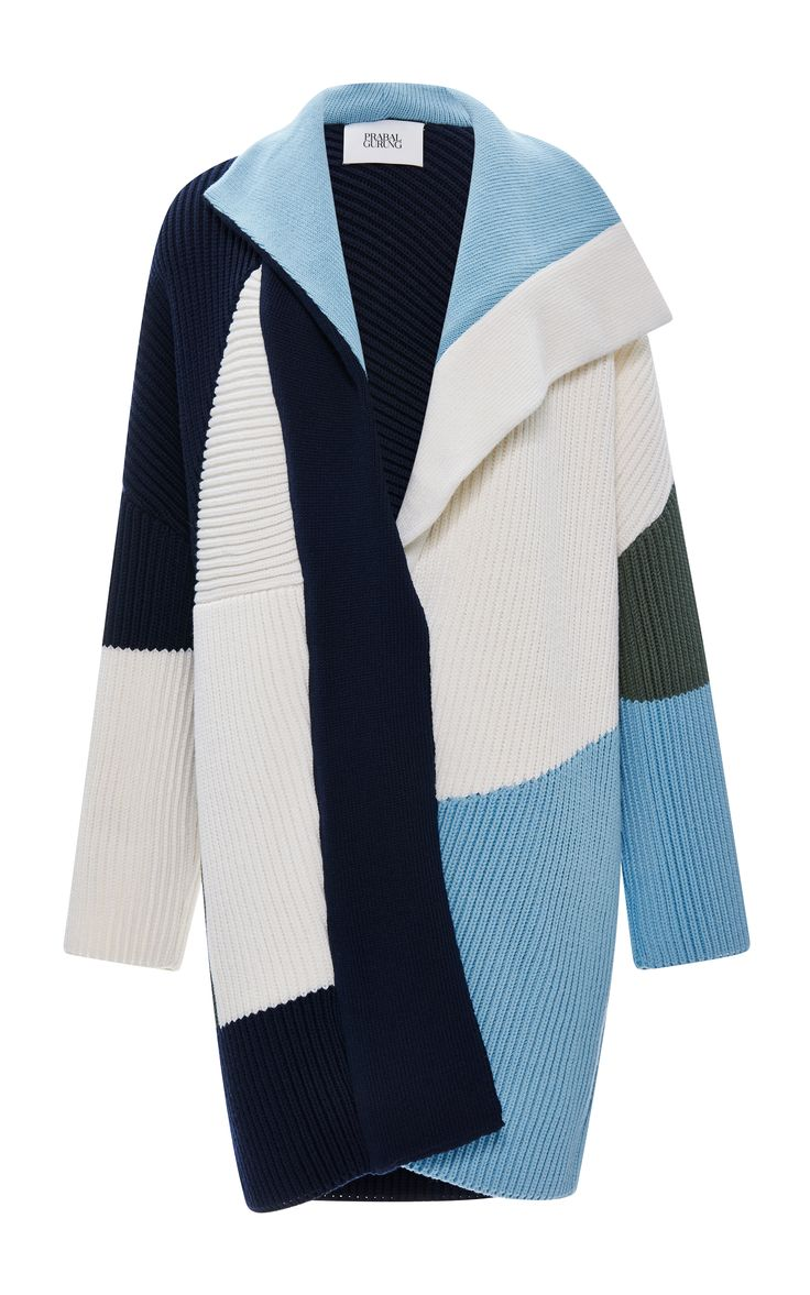 Chunky Knit Color Block Sweater Coat by Prabal Gurung for Preorder on Moda Operandi