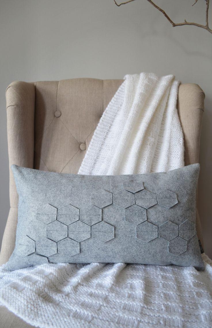 Honeycomb Gray Felt Kidney Pillow