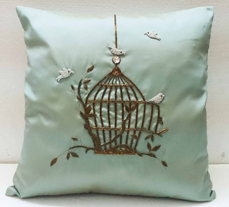 homedecor blue silk pillow vintage style birdcage hand embroidery accent pillow sofa pillow bed pillow decorative contemporary modern pillow blue pillow modern pillow handmade pillow throw pillow wedding gift silk pillow homedecor cushion cover sequins pillow embellished pillow vintage contemporary pillow metallic pillow 32.00 USD #goriani