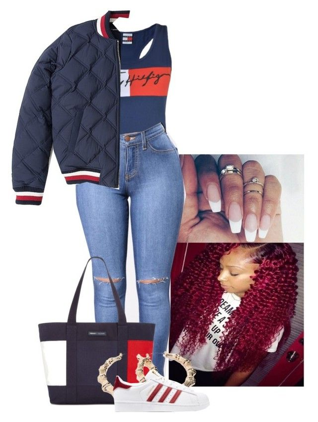 """""""Ask Tommy, Hilfiger it out❤️"""" by onlynayy ❤ liked on Polyvore featuring Tommy Hilfiger, Forever 21 and adidas Originals"""