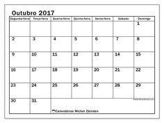 Resultado de imagem para calendário 2017 outubro português