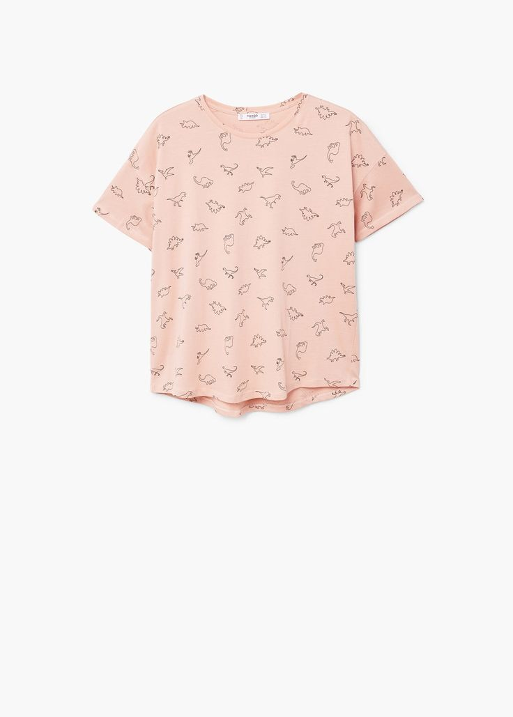 Printed cotton t-shirt - f foShort sleeve Woman   MANGO United Kingdom