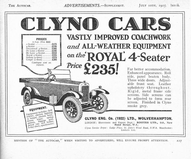 Clyno Autocar car advert 1925 - Clyno Royal 4 Seater | Clyno Cars ...
