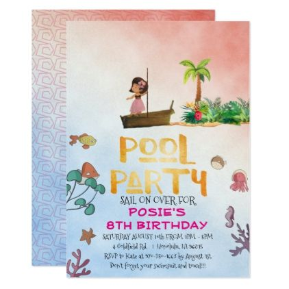 #Hawaiian Themed Pool Party Card - #birthday #gifts #giftideas #present #party