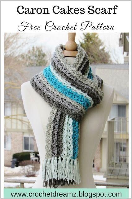 Free crochet pattern: Ocean Waves Scarf in Caron Cakes yarn by Crochet Dreamz