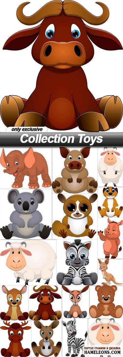 В векторе игрушки: слон, овца, зебра, кенгуру, медведь, олень, бык | Toys