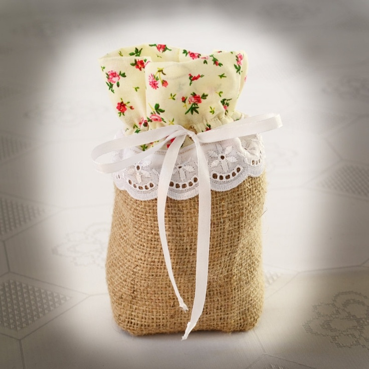 SET OF 25 Rustic Burlap and Yellow Linen Wedding Favor Bag or Gift Bag- Vintage style. $160.00, via Etsy.