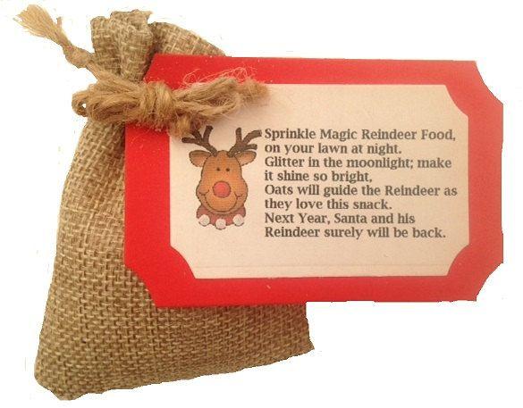 Hessian Jute Magic Reindeer Food Christmas Poem by Fancy1DressUp on Etsy