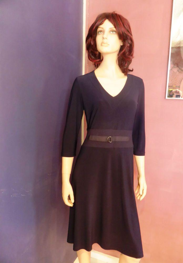 Leina Broughton Navy Blue V Neck Long Sleeve Dress Size 12