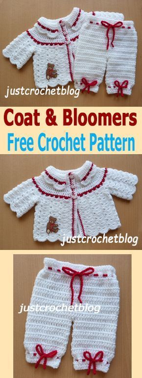 Crochet coat and bloomers outfit, FREE baby crochet pattern, to fit newborn. #justcrochetblog #freebabycrochetpatterns #crochetpattern