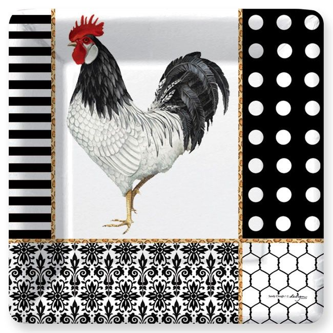 Graphic Rooster Dinner Plates