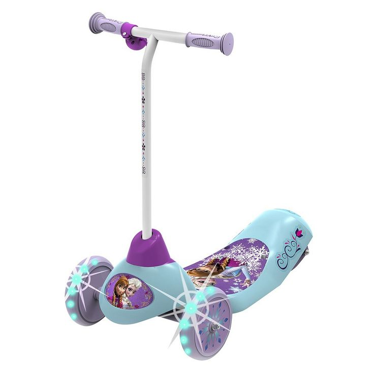Disney frozen safe start light up 3 wheel electric scooter for Motorized scooter disney world
