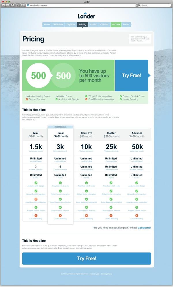 Pricing table lander app via behance web design for Ux table design