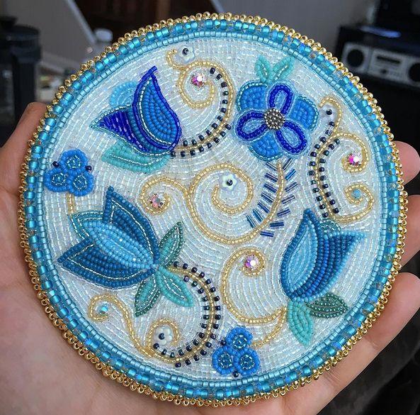 Beaded medallion by Katie Longboat #beadwork #beading #medallion
