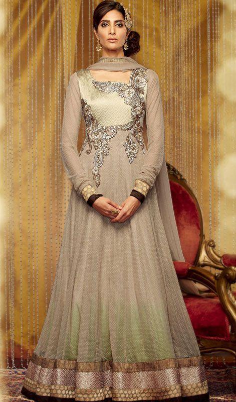 Beige Georgette Floor Length Anarkali Dress Price: Usa Dollar $133, British UK Pound £78, Euro98, Canada CA$145 , Indian Rs7182.