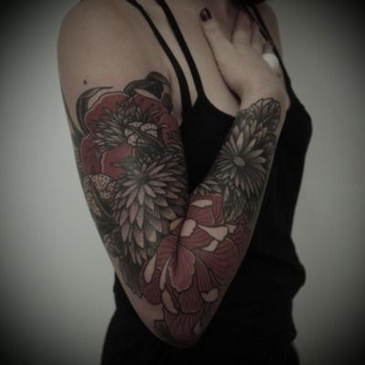 ...Tattoo Sleeve, Sleeve Tattoo, Tattoo Flower, Guys Le, Ink Tattoo, Tattoo Ink, Le Tatooer, Red Black, Flower Tattoo