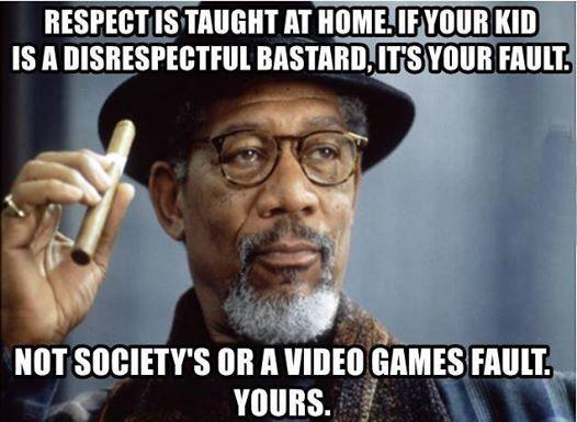 子どものしつけは家でやるもの  尊敬は家で教えるもの。自分の子供が人に失礼なバカ野郎なら、自分が悪い。社会とかビデオゲームが悪いんじゃない。自分が悪い。