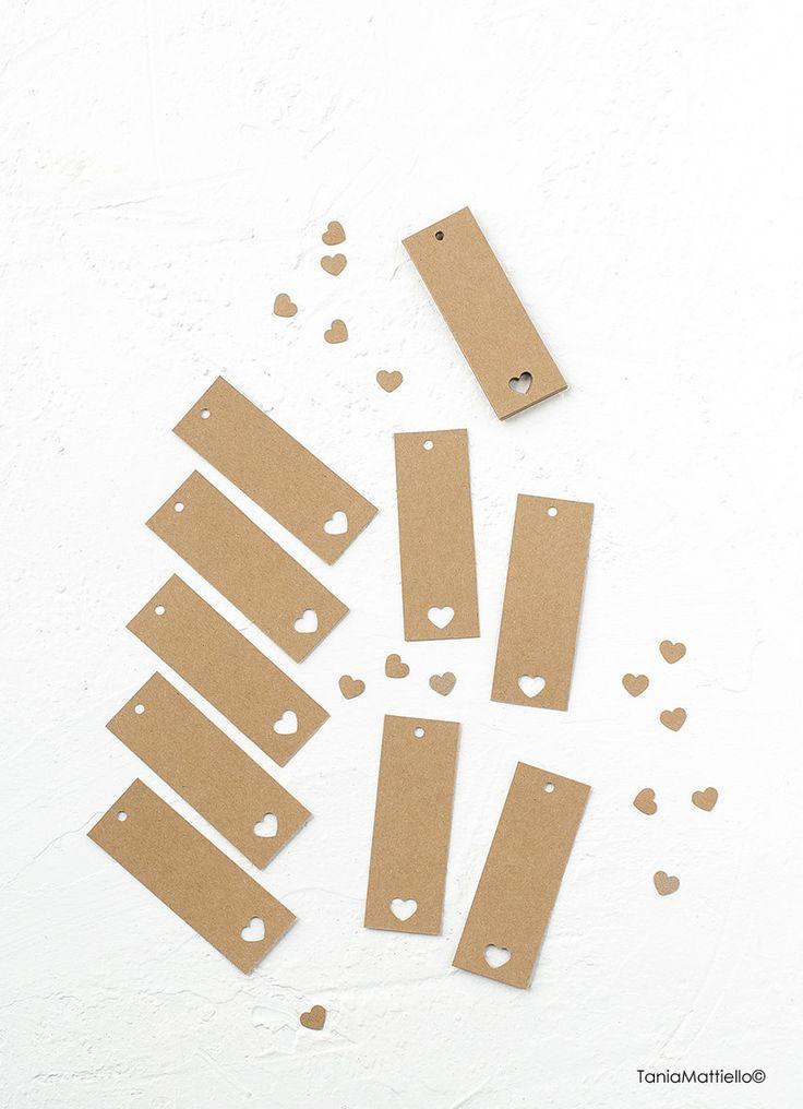 24 Etichette in Carta Kraft con Cuore-Targhette-Segnaposto Matrimonio-Chiudipacco-Scrapbooking-Carta Riciclata-Regalo-Tag-Fatto a Mano di BolleDiCarta su Etsy
