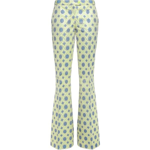 BOUTIQUE MOSCHINO   Metallic cotton-blend jacquard bootcut pants (£135) ❤ liked on Polyvore featuring pants, metallic trousers, zipper pants, white pants, jacquard trousers and jacquard pants