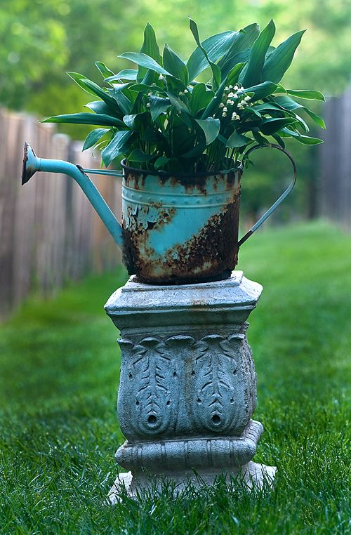 loveWhite Flower, Bohemian Gardens Ideas, Cute Ideas, Watering Cans, Gardens Spaces, Yards Art, Dishfunctional Design, Yards Ideas, Garden Spaces