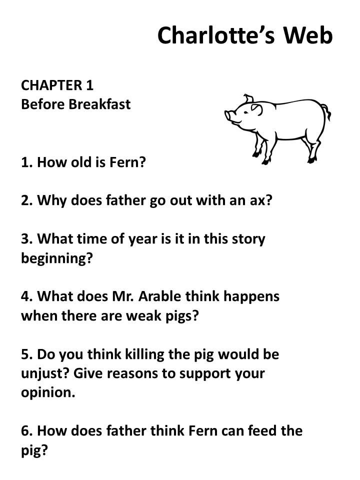 "Charlotte's Web by E. B. White is the focus of this packet. Comprehension questions for ""'Charlotte's Web"" are given for each chapter of this timeless classic. Guided reading questions from various levels of Bloom's taxonomy are provided to help students enhance skills needed to advance through core curriculum standards while reading ""Charlotte's Web"". Grammar exercises are provided after each chapter of ""'Charlotte's Web"". Answers are included in a teacher copy."