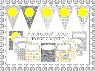Gray and yellow classroom decor set!