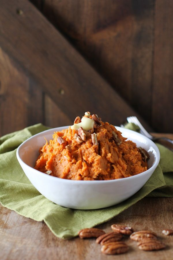 Maple Bourbon Mashed Sweet Potatoes - These were good but the bourbon flavor is very light. Just an essence of it.