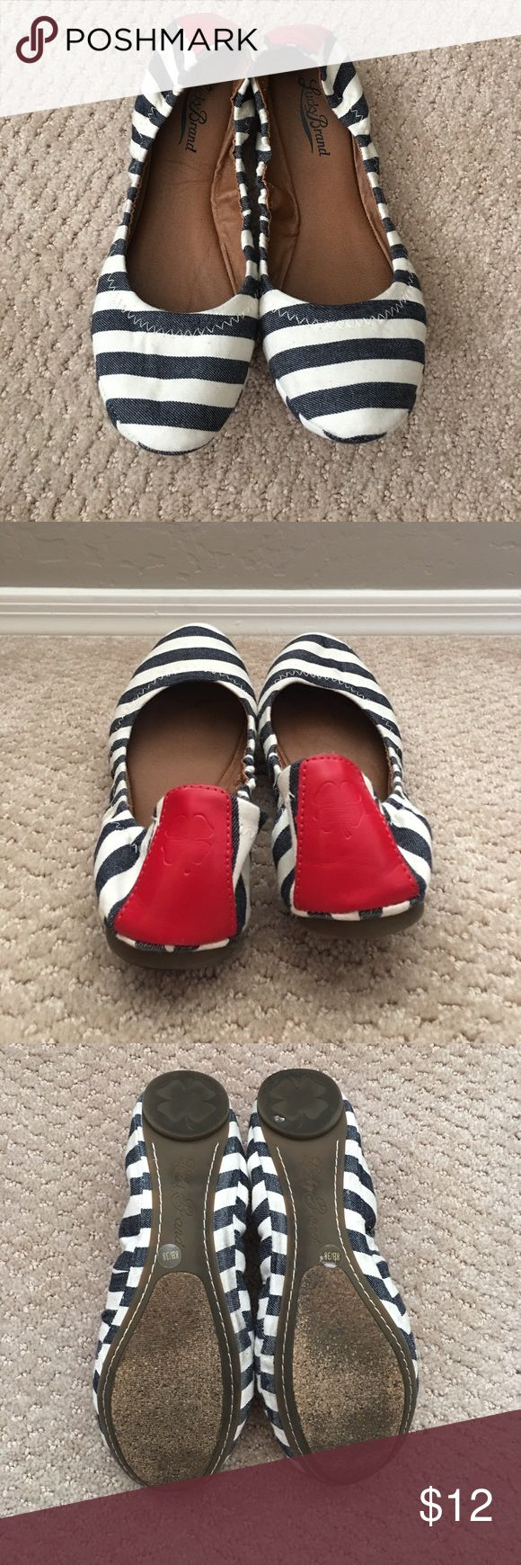 Lucky Brand 🍀 Striped Ballet Flats These navy blue striped ballet flats have only been worn a few times. They have a cute accent of red leather on the heel. Lucky Brand Shoes Flats & Loafers
