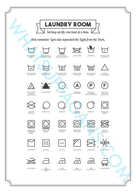 FREE Laundry Symbol Printable! Gonna put in my laundry room so I can care for my clothes properly! Never knew what these clothing tag symbols meant before!