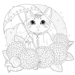 Coloring Pages Adults Cat Rainbow Mandala By Kchung Patterns