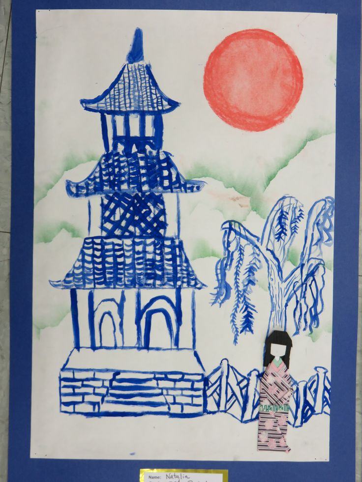 3rd grade Japanese pagoda painting with origami