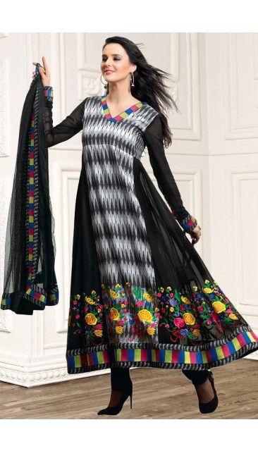 Black Net Anarkali Churidar Suit With Dupatta - DMV14430