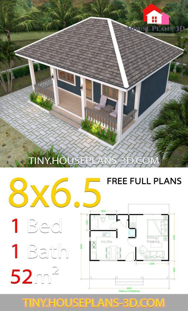 Small House Plans 8x6 5 With One Bedrooms Hip Roof Tiny House Plans Small House Plans Tiny House Plans Small House
