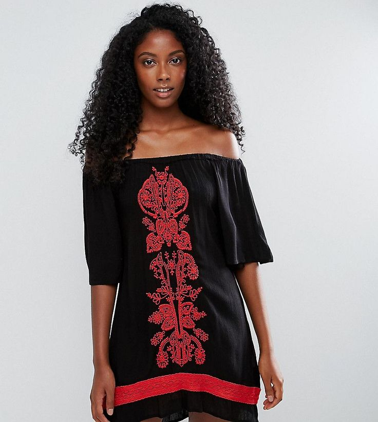 Akasa Off The Shoulder Embroidered Beach Dress - Black