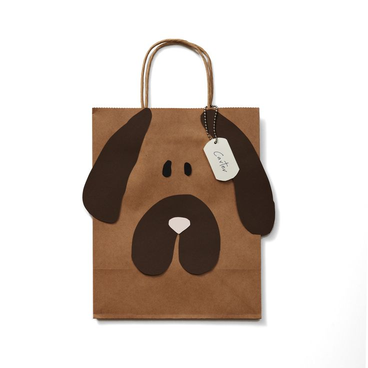 Doggie Bags // Favor bags for a puppy party. Any brown paper bag can become an animal with some scissors and glue.