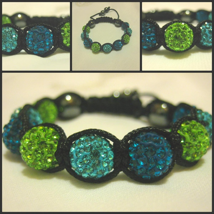Peacock Blue, Vibrant Turquoise and Lime Green Crystal