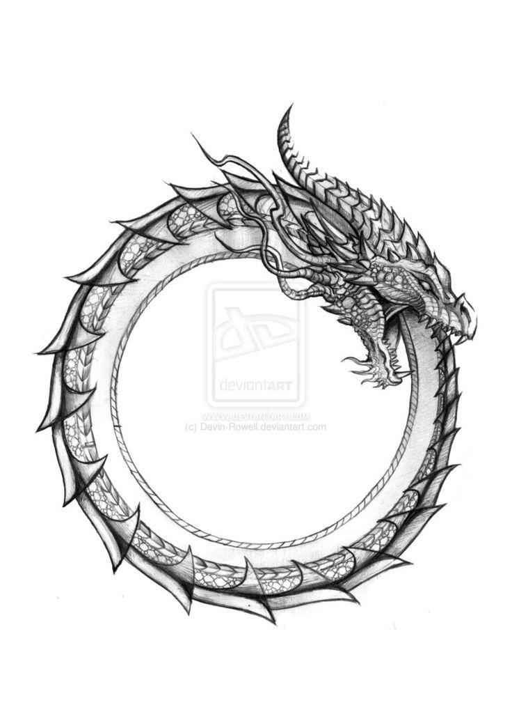 -Ouroboros, type dragon. Symbolise l'évolution sous forme de cycles et l'éternel retour des choses. Autour du bras gauche.