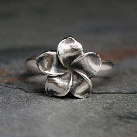 Plumeria Flower Ring Sterling Silver Hawaii by KiraFerrer on Etsy