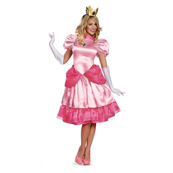 Nintendo Super Mario Bros. Deluxe Princess Peach Costume - Adult, Women's, Size: 12-14, Pink