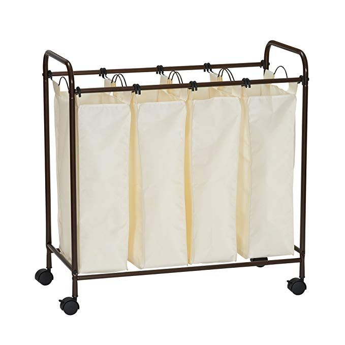 Household Essentials 7173 Rolling Quad Laundry Sorter With