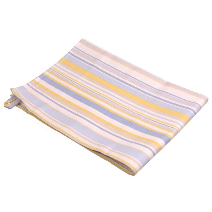 Tea Towel in Lemon and Blue Hudson Stripe Cotton