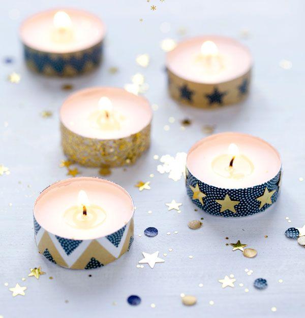 bougies décorées avec du masking tape