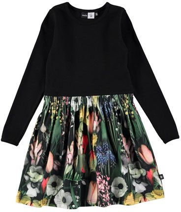 molo Credence Solid & Floral Dress, Black/Green, Size 2-12