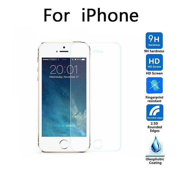 Kaca tempered untuk iphone 5 5 s 5c se 6 6 s plus 7 ditambah 4 4 s screen protector Dikeraskan Film Pelindung 9 H 2.5D HD + Pembersih Kit