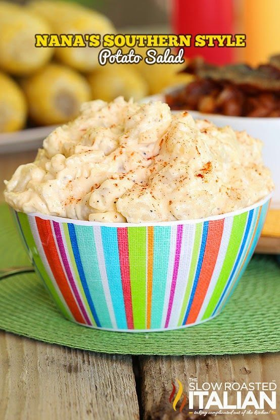 Nana's famous recipe of Southern Style Potato Salad is so good it is bound to become a tradition in your house too. It's a rich and creamy recipe that tastes like home to me. And trust me care was taken to really bring this classic over the top.