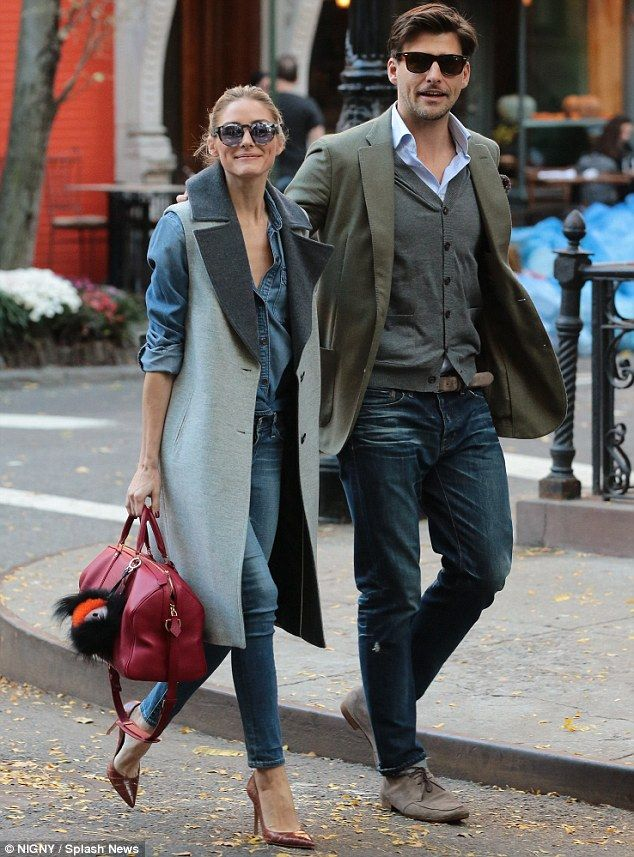 In step: Olivia Palermo and her husband Johannes Huebl looked like they stepped out of a fashion magazine while leaving lunch in New York City