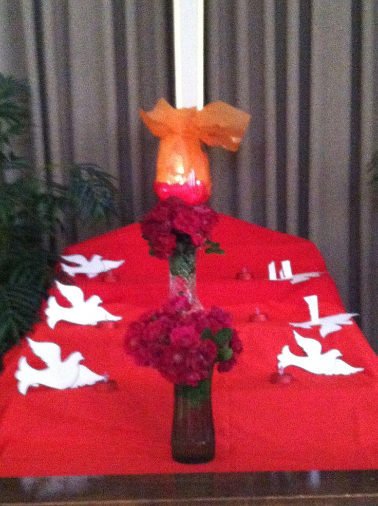 Pentecost altar decoration worship ideas pinterest for Altar decoration