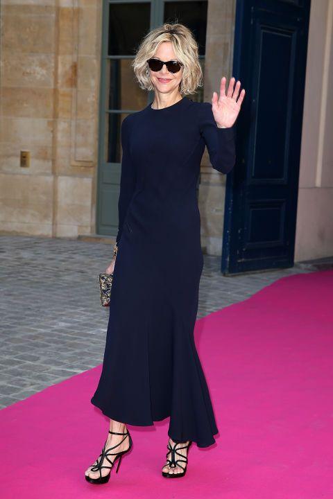 Meg Ryan at Schiaparelli. See all the celebs at Paris Couture Week.