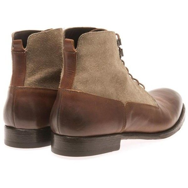 ALEXANDER MCQUEEN Leather and suede lace-up boots ($535) ❤ liked on Polyvore featuring men's fashion, men's shoes, men's boots, mens suede lace up boots, mens leather boots, men's pull on boots, mens leather slip on shoes and mens slip on boots
