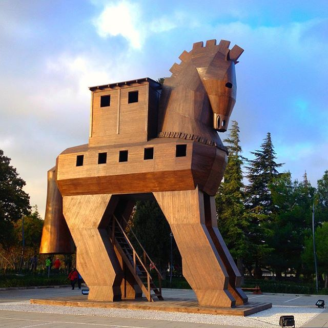 """: """"Replica"""" of the horse of Troy  climb up and inside before waking around the ancient ruins of the city of Troy  www.thegirlswhowander.com #thegirlswhowander #troy #woodenhorse #ancientruins #turkey #travel #traveltalktours #iphone4 #GirlsBornToTravel #backpacker #LiveIntrepid #wannagohere #passportcollective #instatravel #photooftheday #picoftheday #travel #blogoftheweek #linkinbio"""